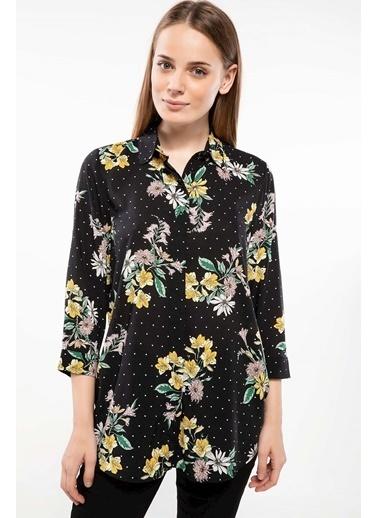 DeFacto Çiçek Desenli Gömlek Tunik Siyah